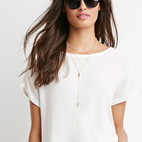 Cuffed Cap-Sleeve Boxy Top