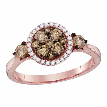 14kt Rose Gold Womens Round Cognac-brown Color Enhanced Diamond Cluster Bridal Wedding Engagement Ring 3/4 Cttw