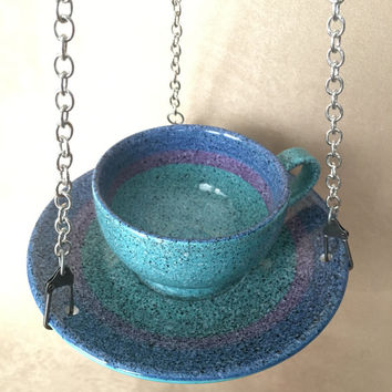 Bird Feeder, Hanging Bird feeder, Teacup Bird Feeder, Handcrafted Vintage, Upcycled Bird feeder, Baldelli Italy Set, Beach Blue Feeder