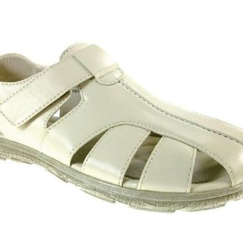 Mens Majestic Leather Lining Caged Comfort Sandals 72536 Ice