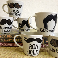 Hello Mustache Mugs - Good Day Good Morning -