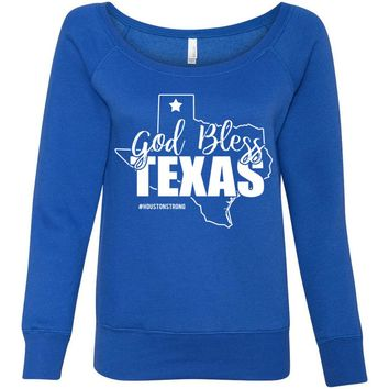 God Bless Texas Houston Bella + Canvas - Women's Sponge Fleece Wideneck Sweatshirt