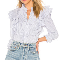 BCBGMAXAZRIA Alexandria Long Sleeve Ruffle Top in White Chambray Combo | REVOLVE