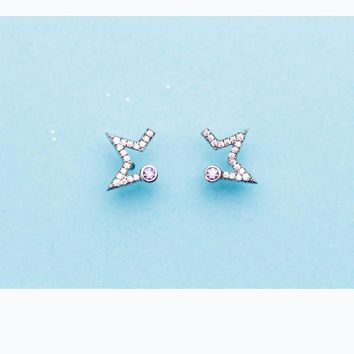 MloveAcc New Arrival Authentic 925 Sterling Silver Exquisite CZ Star Stud Earrings for Women Girls Fine Jewelry Bijoux