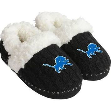 ICIKG8Q NFL Detroit Lions Womens Fur Moccasin Slippers