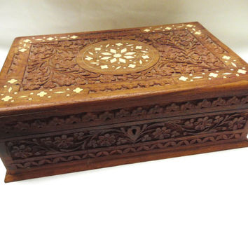 Large Jewelry Box Mens Womens Hand Carved Wood Inlaid Valet Cuff Link Storage