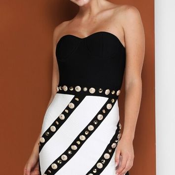 Been There Done That Black White Strapless Sweetheart Neck Diagonal Stripe Pattern Studded Bandage Bodycon Mini Dress
