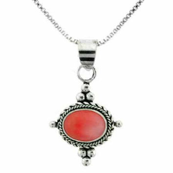 Sterling Silver Simulated Pink Coral Bali Bead Pendant