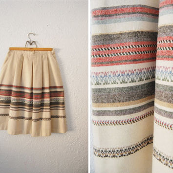 Vintage 70s Full Stripped Midi Knee Length Skirt / Boho Earthy Fall Trend