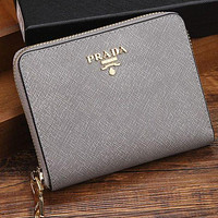 Prada women's leather zipper wallet F Silver grey