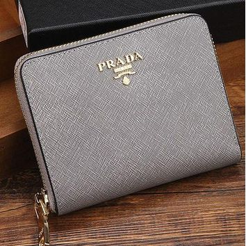 Prada Trending Ladies Leather Metal Zipper Wallet Purse Silver Grey I-MYJSY-BB