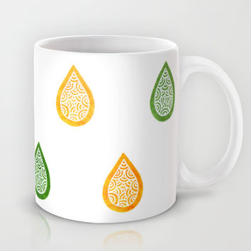 Yellow and green raindrops Mug by Savousepate