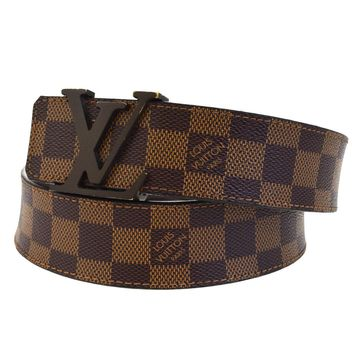 Authentic LOUIS VUITTON Ceinture Belt Damier Leather Brown France M9807 33ED930