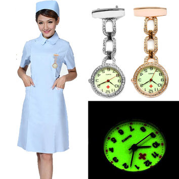 New Luminous Nurses Watches Doctor Clip-on Fob Quartz Watch Steel Noctilucent Brooch Hanging Medical Crystal Pocketed Pin Watch