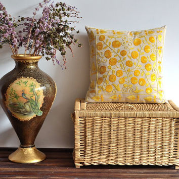 Yellow Floral Hand Embroidered Vintage Suzani Pillow Cover, 17x17 inch, Decorative Pillow, Euro Shams, Ethnic Decorative Pillow