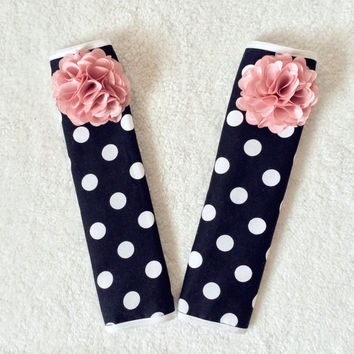 1 pair of Car Automotive Seat Belt Cover -Black and White Polka dots (big spots #B )w/ Pink Chiffon Flower, unique car accessories decors