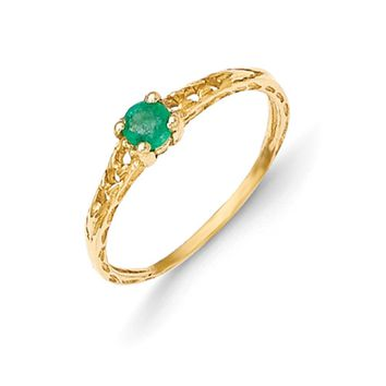 Size 3 14kt Yellow Gold 3mm Genuine Emerald Birthstone Girls Ring