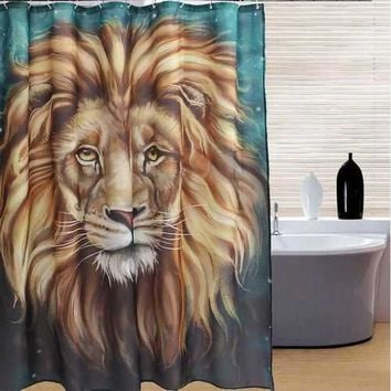 Lion Head Style Shower Curtain