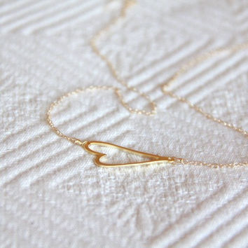 Gold Heart Necklace by MesaBlue on Etsy