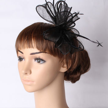 Charming  multiple color sinamay  fascinator  headwear party  hair accessories church hats suit for all seasons TMYQ117