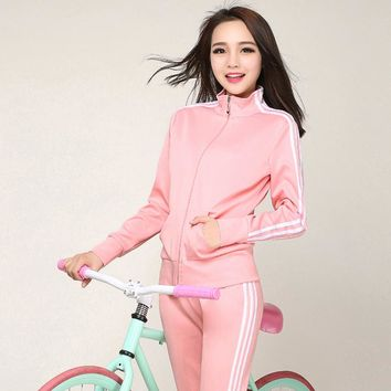 brand women's suits sportswear casual suit tracksuit for 2 two pieces set clothing set crop top+pant suit women suits large size