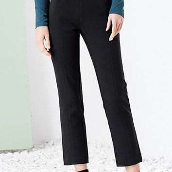 Solid Color Single Button Embellished Pencil Pants