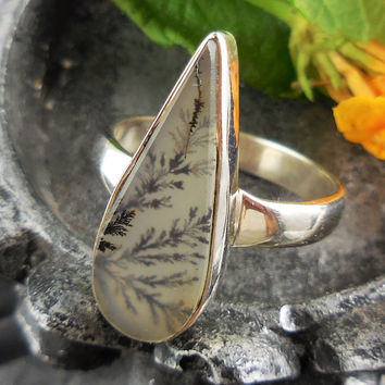 Dendritic Agate Sterling Silver Ring - Size 6.5
