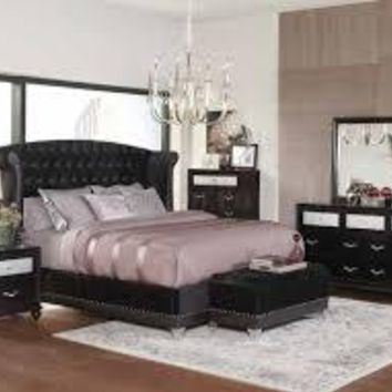 Stunning Upholstered Black Velvet Bed