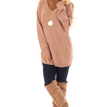 Maple Long Sleeve Sweater with Lace Up Back