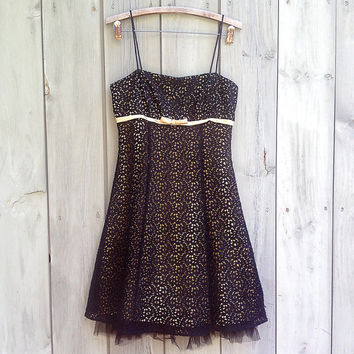 Gabby tulle and lace vintage dress | Betsy & Adam black and gold net dress by Linda Bernell