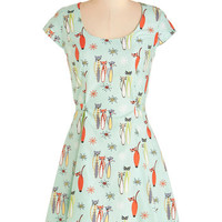 ModCloth Cats Mid-length Cap Sleeves A-line Mew Should be a Model Dress