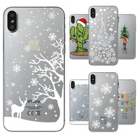 Christmas Santa Claus Tree Snowing Phone Cases For iPhone X Case Soft TPU Phone Shell Capa Bag Housing for Apple iPhone 10