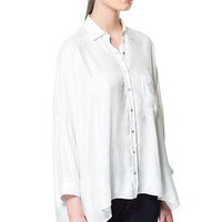 OVERSIZE SILK SATIN BLOUSE - Shirts - Woman - ZARA Canada