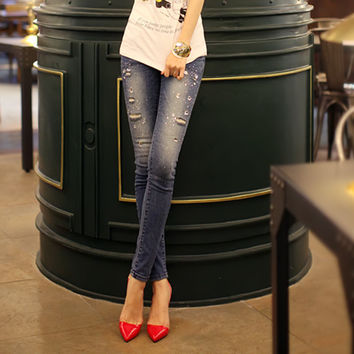 New fashion trendy ladies diamond embroidered flares denim jeans trousers women stylish retro vintage ripped casual pencil pants