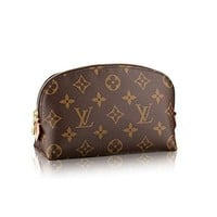 LV Women Shopping Leather Tote Louis Vuitton Monogram Canvas Cosmetic Pouch M47515