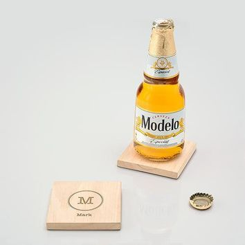 Natural Wood Coaster with Built-in Bottle Opener - Typewriter Monogram Etching (Pack of 1)