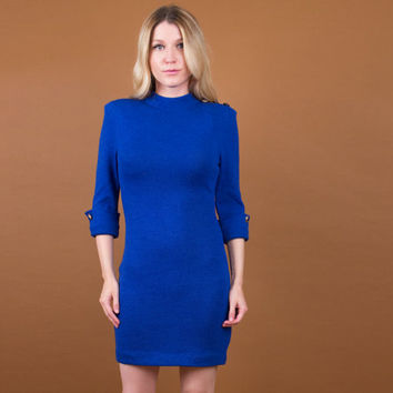 cobalt blue knit midi dress / bandage body con knit sweater dress / Vtg 80s cocktail secretary xs mock neck minimalist