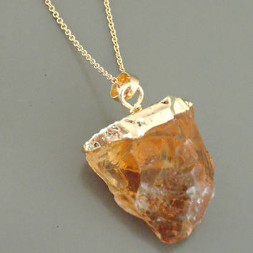 Citrine Necklace - Raw Citrine Necklace - November Birthstone - Gemstone Necklace - Gold Necklace - Bohemeian Necklace - handmade jewelry