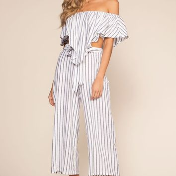 On My Way To Rio Striped Highwaist Culottes