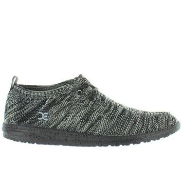 ONETOW Hey Dude Wally Knit - Black/White Knit Athleisure Wallabee