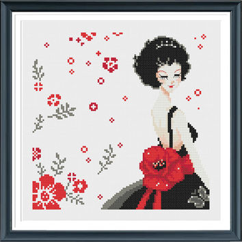 Girl MQ013,Modern cross stitch pattern PDF ,Instant download