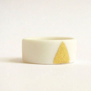 Geometric Fashion - Gold and White Porcelain Ring MADE TO ORDER