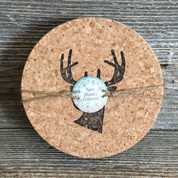 Deer Coasters, Cork Coasters, Gifts for Hunters, Hunting Gifts for Men, Man Cave Gifts, Absorbent Coasters, Stamped Coasters - Item# 002