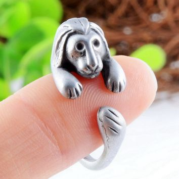 Cute Lion Silver Animal Ring