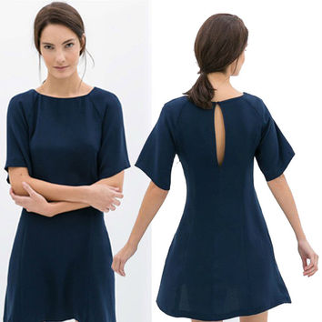 Halter Sleeve Chiffon Dress