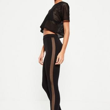 Missguided - Active Black Fishnet Panel Jesrsey Leggings