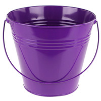 Metal Pail Buckets Party Favor, 7-inch, Purple