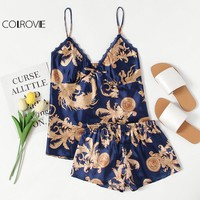 COLROVIE Graphic Print Satin Pajama Set 2017 V Neck Spaghetti Strap Sleeveless Sleepwear Women Sexy Winter Pajama Set