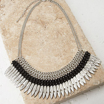 Feather Fringe Statement Necklace