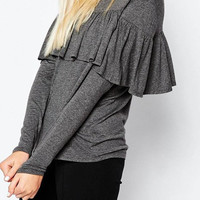 Gray Ruffled Long Sleeve Top